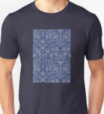 Detailed Floral Pattern in White on Navy Unisex T-Shirt