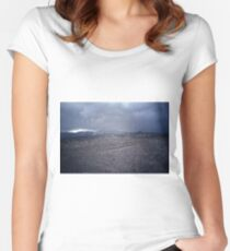 death valley rain storm Women's Fitted Scoop T-Shirt