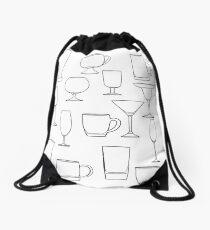 Glass of water tumbler set hand drawn line art  Drawstring Bag