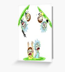 Teleport Rick And Morty Greeting Card