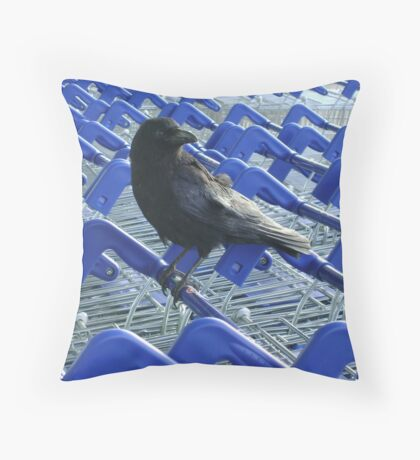 firm purchase (crow with shopping trolleys) Throw Pillow
