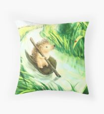 Hedgehog on a journey Throw Pillow