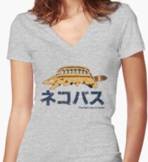 Nekobus retro Women's Fitted V-Neck T-Shirt