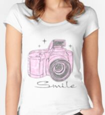 Camera Smile- womans photography shirt Women's Fitted Scoop T-Shirt
