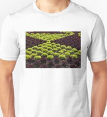 Fresh Spring Checkerboard Pattern in Lime Green and Burgundy T-Shirt