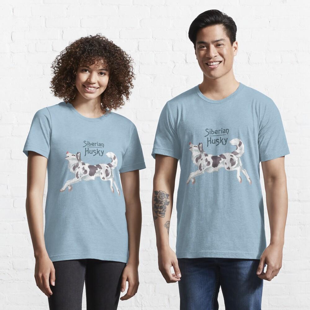 Piebald Siberian Husky (with text) Essential T-Shirt