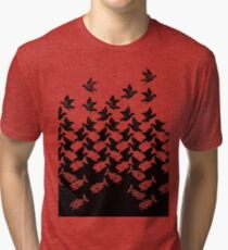 Fish and Birds Art Deco Tessellation Tri-blend T-Shirt