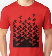 Art Deco Fish and Birds Tesselation Unisex T-Shirt