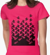 Fish and Birds Art Deco Tessellation Women's Fitted T-Shirt