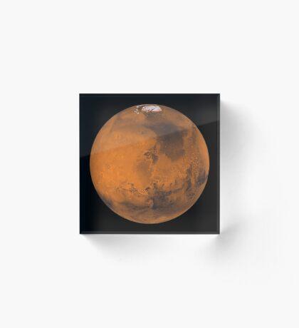 Globale Farbansicht des Mars. Acrylblock