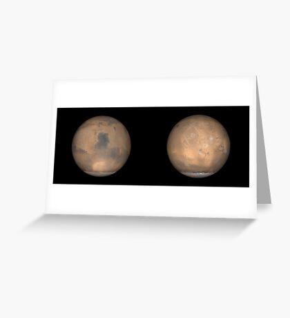 Globale Ansichten des Mars im späten Nordsommer. Grußkarte