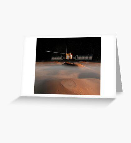 Künstlerisches Konzept der Mars Express-Raumsonde im Orbit um den Mars. Grußkarte