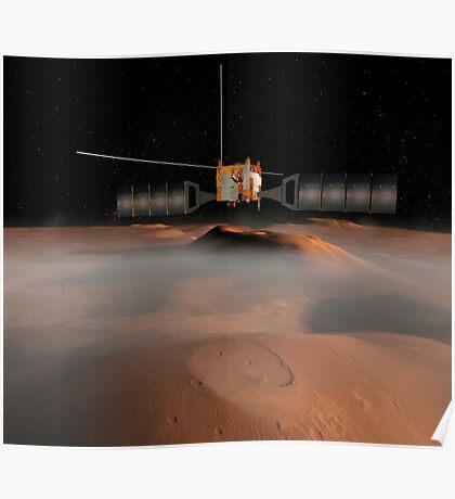 Künstlerisches Konzept der Mars Express-Raumsonde im Orbit um den Mars. Poster