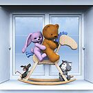 All together on the rocking horse by Roberta Angiolani