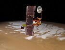 Raumsonde Mars Odyssey fährt über den Südpol des Mars. von StocktrekImages