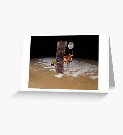Raumsonde Mars Odyssey fährt über den Südpol des Mars. Grußkarte