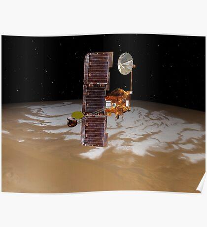 Raumsonde Mars Odyssey fährt über den Südpol des Mars. Poster
