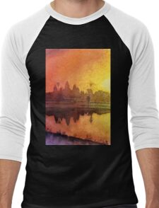Angkor Wat Sunrise- Watercolor Painting Men's Baseball ¾ T-Shirt