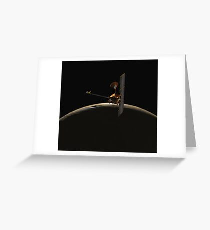 Mars Odyssey-Raumfahrzeug über Mars-Sonnenaufgang. Grußkarte