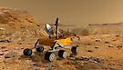 Mars Science Laboratory reist in der Nähe einer Schlucht auf dem Mars. von StocktrekImages