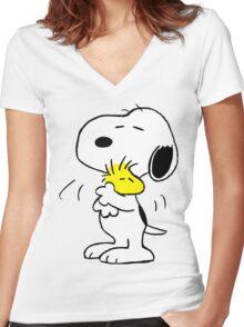 SNOOPY WOODSTOCK MANGSA 1 Women's Fitted V-Neck T-Shirt