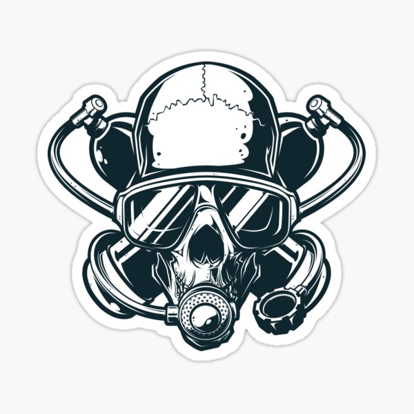 Scuba Diver Twinset Diving Theme Sticker