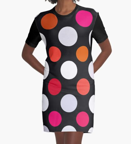 Retro Dots in Shades of Red Graphic T-Shirt Dress