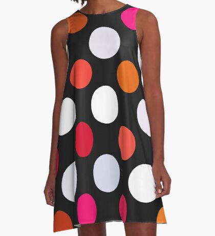Retro Dots in Shades of Red A-Line Dress