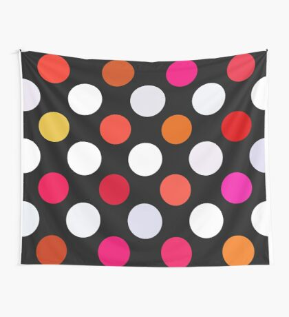 Retro Dots in Shades of Red Wall Tapestry