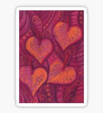 Hearty Flowers, floral hearts, pink, red & orange Sticker