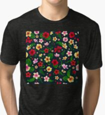 Tropical Flowers Seamless Background Tri-blend T-Shirt