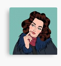Beautiful Woman in Pop Art Comics Style. Dreaming about something Canvas Print