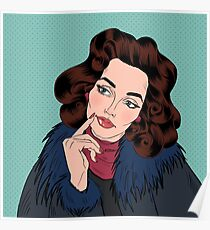 Beautiful Woman in Pop Art Comics Style. Dreaming about something Poster