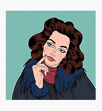 Beautiful Woman in Pop Art Comics Style. Dreaming about something Photographic Print