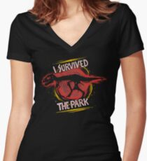 I survived the park Women's Fitted V-Neck T-Shirt