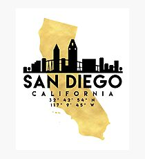 SAN DIEGO CALIFORNIA SILHOUETTE SKYLINE MAP ART Photographic Print