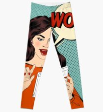 Surprised Woman with Tablet in Hands and Bubble with Expression Wow. Pop Art Style Leggings