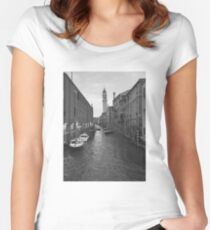Venice, Italy canal in black and white Women's Fitted Scoop T-Shirt