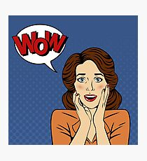 Surprised Woman with Bubble and Expression Wow in Comics Style Photographic Print
