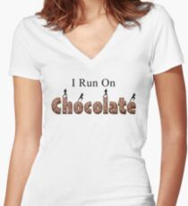 I Run On Chocolate - Female Runners Women's Fitted V-Neck T-Shirt