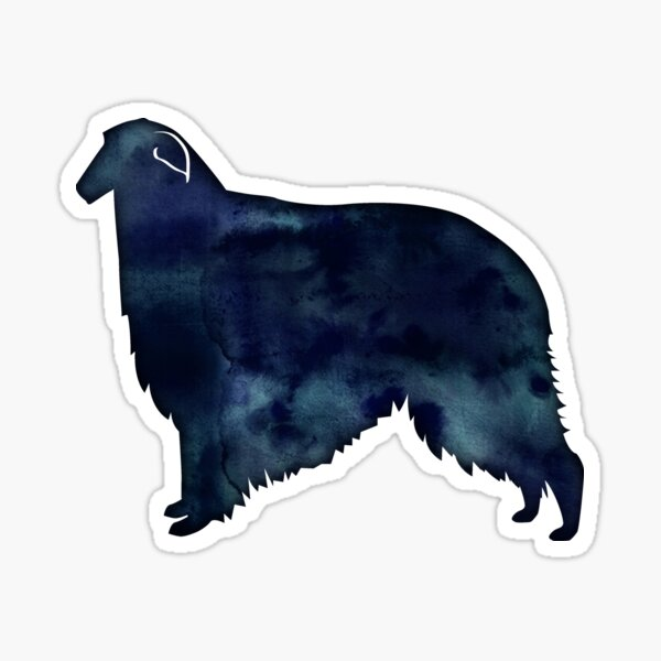 Borzoi Dog Breed Black Watercolor Silhouette Sticker