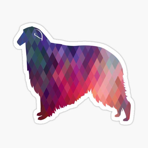 Borzoi Dog Breed Geometric Pattern Silhouette - Pink Sticker