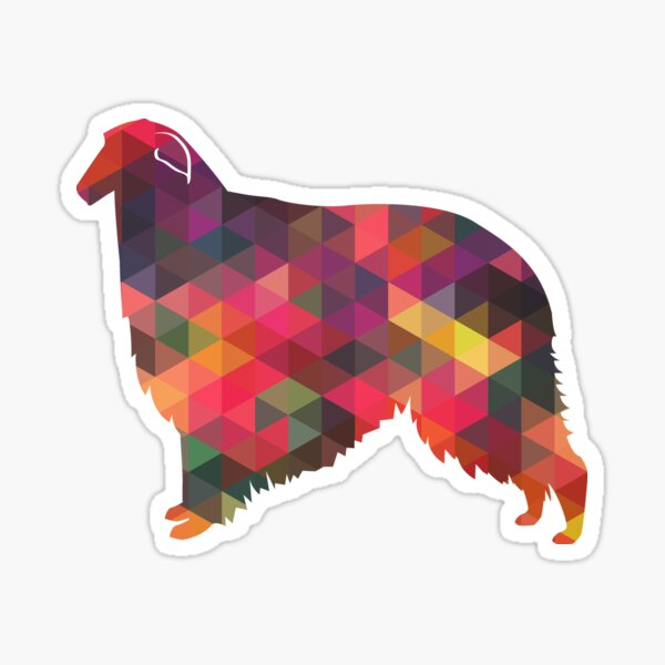 Borzoi Dog Breed Geometric Pattern Silhouette - Multi Sticker