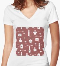 Cute seamless pattern with various accessories for the care of your body and hair: perfume bottles in the shape of a heart, cream, hair spray and other. Women's Fitted V-Neck T-Shirt