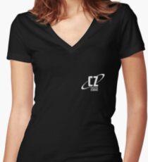 Crossing Zebras Grunge Logo Women's Fitted V-Neck T-Shirt