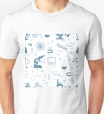 Seamless pattern with variety scientific, education elements: globe, microscope,magnet, flask, molecule and other. Unisex T-Shirt