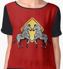 Two Zebras Crossing Chiffon Top
