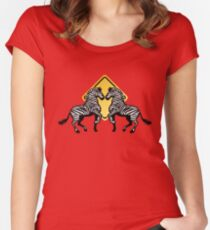 Two Zebras Crossing Women's Fitted Scoop T-Shirt