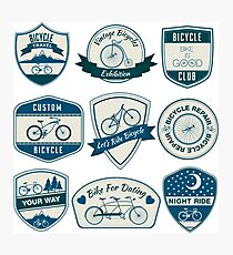Bicycle Vintage Badges Set  Photographic Print