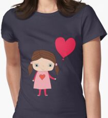 Cute girl with a heart shaped balloon Womens Fitted T-Shirt